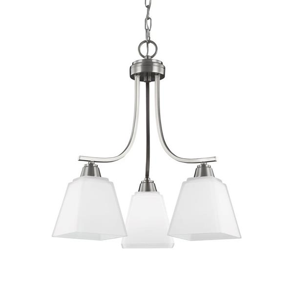 Sea Gull Lighting Parkfield 3-Light Brushed Nickel Modern Etched Glass Shaded Chandelier