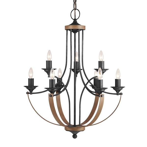 Sea Gull Lighting Corbeille 9-Light Stardust/Cerused Oak Transitional Candle Chandelier