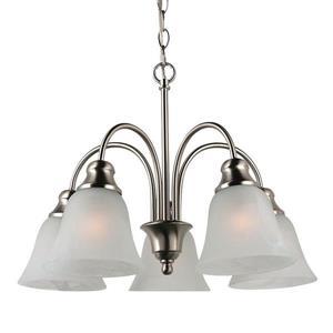 Sea Gull Lighting WindGate 5-Light Brushed Nickel Transitional Alabaster Glass Shaded Chandelier