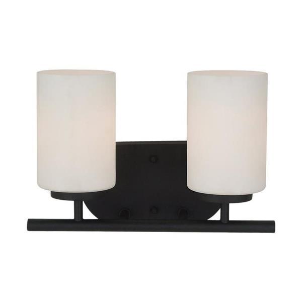 Sea Gull Lighting Oslo 2-Light 12.5-in Blacksmith Cylinder Vanity Light