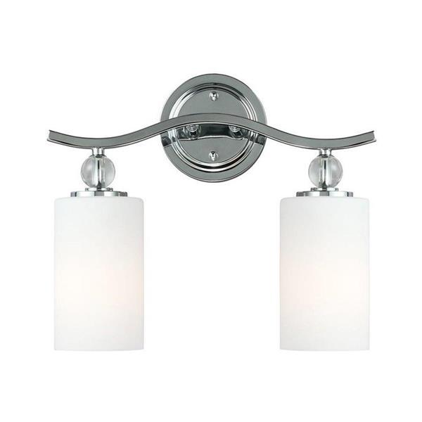 Sea Gull Lighting Englehorn 2-Light 14.5-in Chrome Cylinder Vanity Light