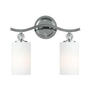 Sea Gull Lighting Englehorn 2-Light 14.5-in Chrome Cylinder Vanity Light