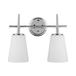 Sea Gull Lighting Driscoll 2-Light 15.5-in Chrome Bell Vanity Light