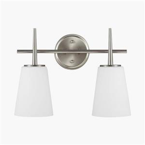 Sea Gull Lighting Driscoll 2-Light 15.5-in Brushed Nickel Bell Vanity Light
