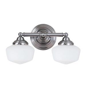 Sea Gull Lighting Academy 2-Light 17.25-in Brushed Nickel Schoolhouse Vanity Light