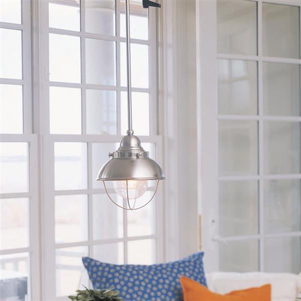 Sea Gull Lighting Sebring Brushed Stainless Mini Modern Seeded Glass Warehouse Pendant