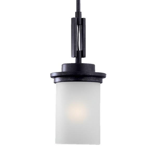 Sea Gull Lighting Winnetka Blacksmith Mini Transitional Etched Glass Cylinder Pendant