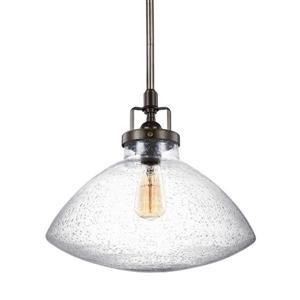 Sea Gull Lighting Belton Heirloom Bronze Transitional Seeded Glass Bell Pendant