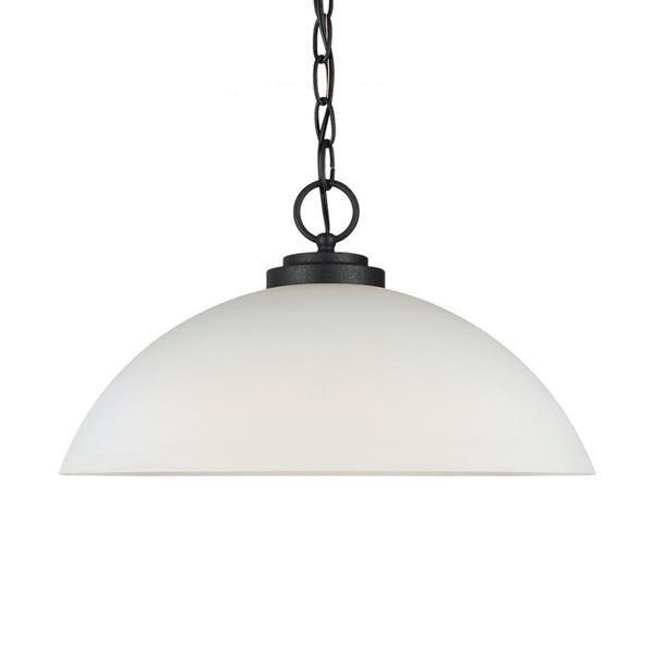 Sea Gull Lighting Oslo Blacksmith Transitional Etched Glass Dome Pendant