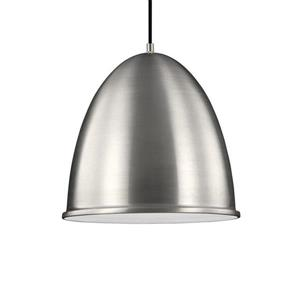 Sea Gull Lighting Hudson Street Satin Aluminum Transitional Dome Pendant