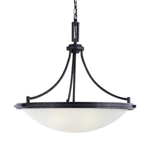 Sea Gull Lighting Winnetka Blacksmith Transitional Etched Glass Bowl Pendant.