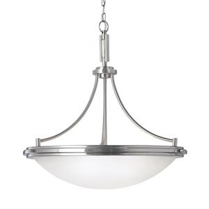 Sea Gull Lighting Winnetka Brushed Nickel Modern Etched Glass Bowl Pendant
