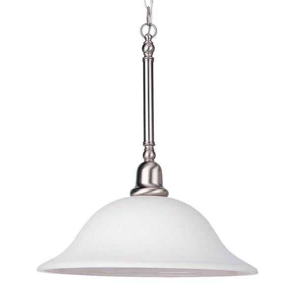Sea Gull Lighting Sussex Brushed Nickel Transitional White Glass Bell Pendant