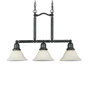 Sea Gull Lighting Sussex 7.5-in W 3-Light Heirloom Bronze Kitchen Island Light with White Shade