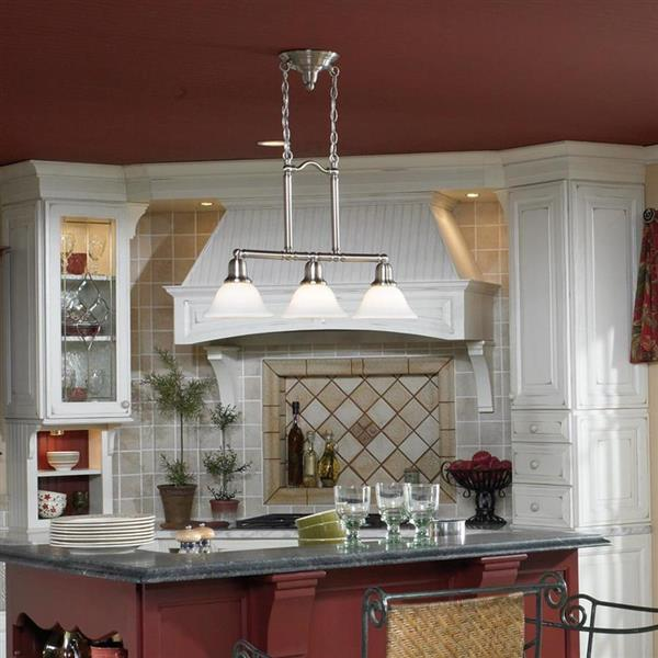 Sea Gull Lighting Sussex 7.5-in W 3-Light Brushed Nickel Casual/Transitional Kitchen Island Light with White Shade