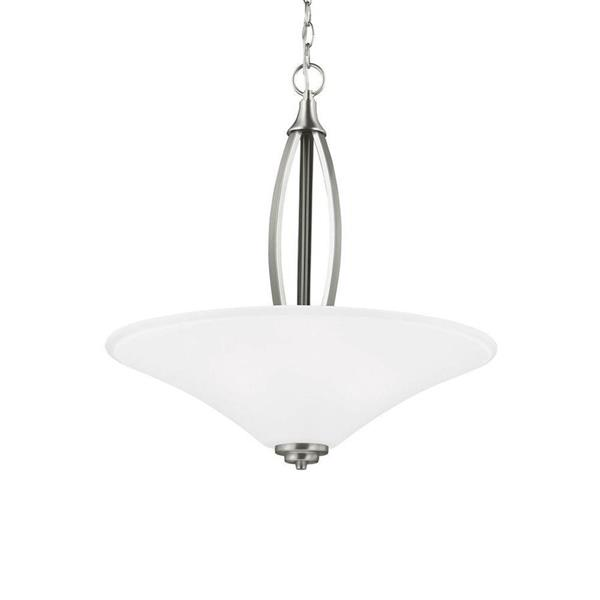 Sea Gull Lighting Metcalf Brushed Nickel Transitional Etched Glass Bowl Pendant