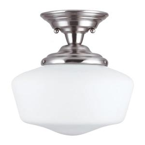 Sea Gull Lighting Academy 11.5-in W Brushed nickel Frosted Glass Semi-Flush Mount Light