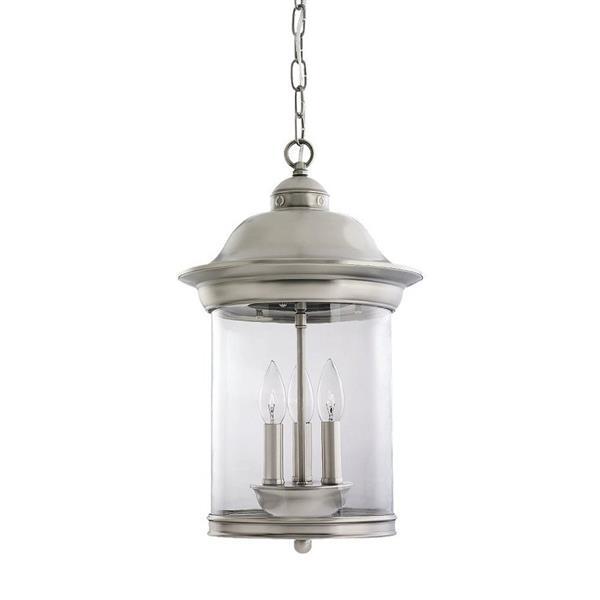 Sea Gull Lighting Hermitage Brushed Nickel Transitional Clear Glass Lantern Pendant