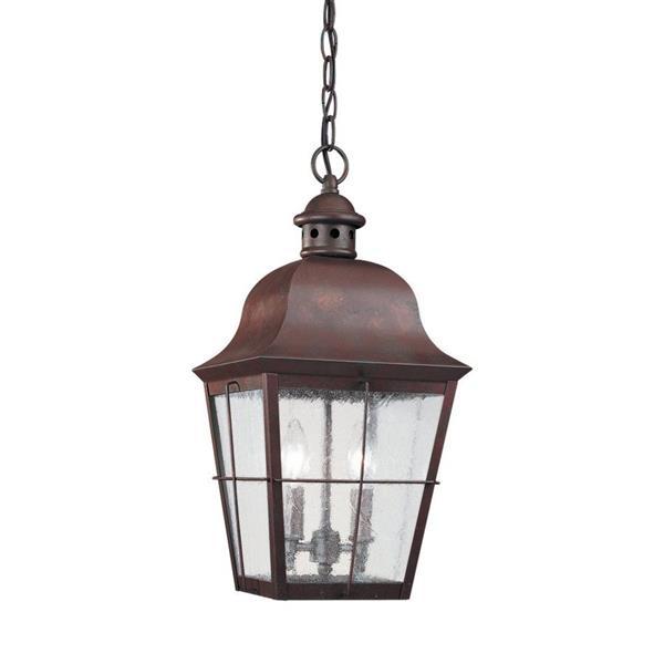 Sea Gull Lighting Chatham Weathered Copper Mini Transitional Seeded Glass Lantern Pendant