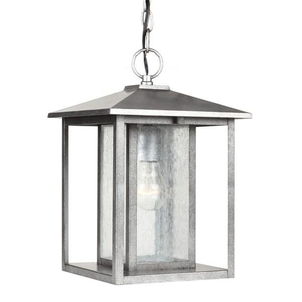 Sea Gull Lighting Hunnington Weathered Pewter Mini Transitional Seeded Glass Lantern Pendant
