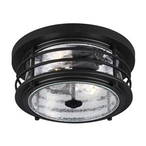 Sea Gull Lighting Sauganash 12.25-in W Black Outdoor Flush-Mount Light