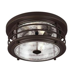 Sea Gull Lighting Sauganash 12.25-in W Antique Bronze Outdoor Flush-Mount Light