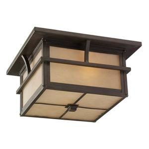 Sea Gull Lighting Medford Lakes 13-in W Statuary Bronze Outdoor Flush-Mount Light