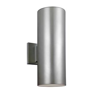 Sea Gull Lighting Outdoor Bullets 14.25-in H Painted Brushed Nickel Outdoor Wall Light
