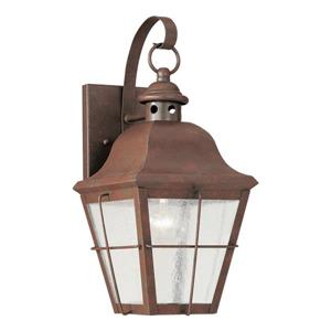 Sea Gull Lighting Chatham 14.5-in H Weathered Copper Outdoor Wall Light.