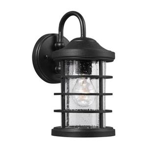 Sea Gull Lighting Sauganash 12.25-in H Black Outdoor Wall Light.