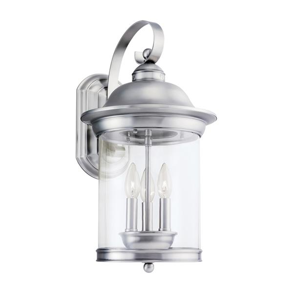 Sea Gull Lighting Hermitage 20.75-in H Antique Brushed Nickel Outdoor Wall Light