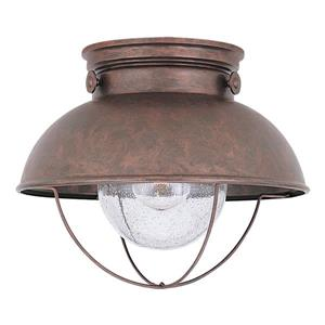 Sea Gull Lighting Sebring 11.25-in W Weathered Copper Outdoor Flush-Mount Light.