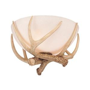 Monte Carlo Fan Company Antler Bowl 11-in W Antique white Frosted Glass Semi-Flush Mount Light.