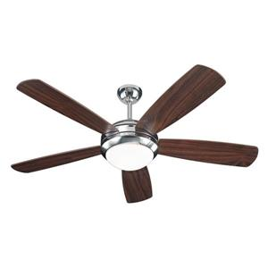 Monte Carlo Fan Company Discus 52-in Polished Nickel Indoor Ceiling Fan with Light Kit.