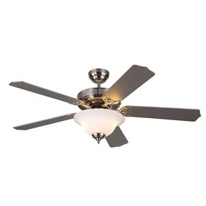Monte Carlo Fan Company Homeowner Max 52-in Brushed Steel Indoor Ceiling Fan with Light Kit ENERGY STAR.