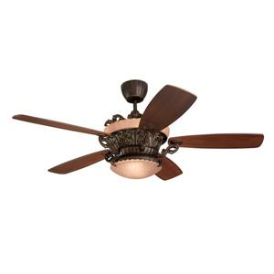 Monte Carlo Fan Company Strasburg 56-in Tuscan Bronze Indoor Ceiling Fan with Light Kit and Remote.