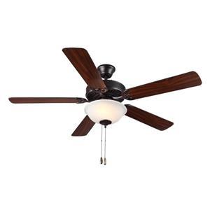 Monte Carlo Fan Company HomeBuilder II 52-in Bronze Indoor Ceiling Fan with Light Kit.
