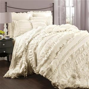 Lush Decor Belle 4-Piece Ivory Queen Comforter Set