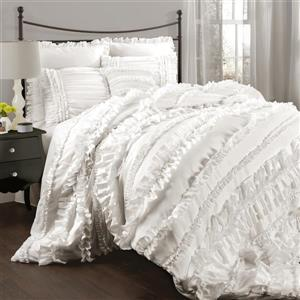 Lush Decor Belle 4-Piece White Queen Comforter Set