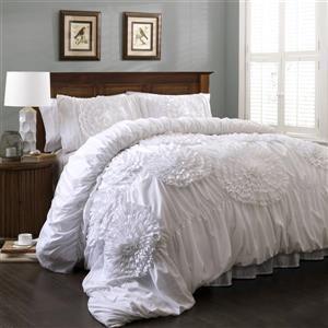 Lush Decor Serena 3-Piece White King Comforter Set