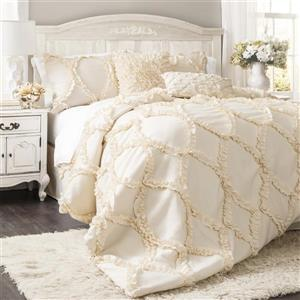 Lush Decor Avon 3-Piece Ivory Queen Comforter Set