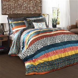 Lush Decor Boho Stripe 7-Piece Turquoise-Tangerine Full/Queen Comforter Set