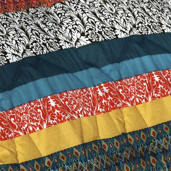 Lush Decor Boho Stripe 7-Piece Turquoise-Tangerine King Comforter Set