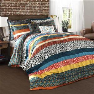 Lush Decor Boho Stripe 7-Piece Turquoise-Tangerine King Comforter Set