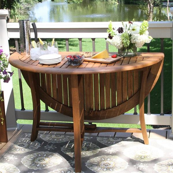 Outdoor Interiors Round Extendable, Outdoor Foldable Round Dining Table