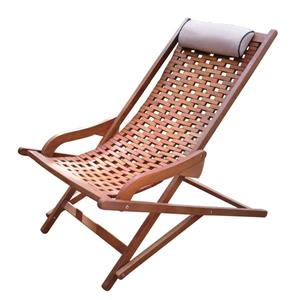 Outdoor Interiors Eucalyptus Conversation Chair with Beige And Black Piped Woven