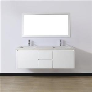 Spa Bathe BACH White glossy Double Sink Vanity with Nougat Quartz Top (Common: 60-in x 22-in)
