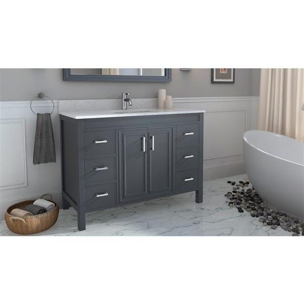 Spa Bathe Cora French gray Single Sink Vanity with Off-white/grey veins Engineered Stone Top