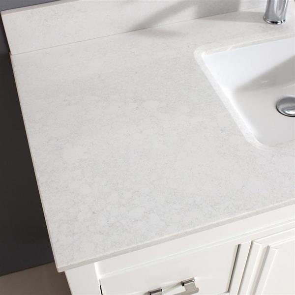 """Meuble-lavabo avec miroir Cora, 47,75"""", blanc cassé/gris"""