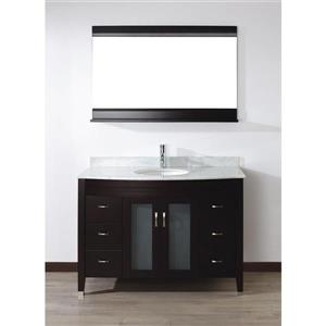 Spa Bathe ELVA Chai Single Sink Vanity with Italian Carerra white/gray Natural Marble Top (Common: 48-in x 22-in)